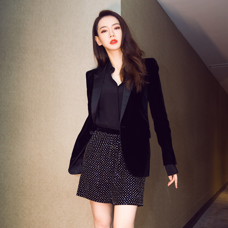 Office Lady Slim Suits Autumn Women Velvet Blazer Long Sleeve Ladies Blazers Feminino OL Formal Work Small Suit Jacket Female