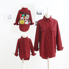 Family Clothing Casual Plaid Shirt Blouse 2016 New Spring Summer Family Clothes Mother Daughter Child Clothes Family Clothing