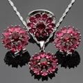 Made in China Cor Prata Conjuntos de Jóias Floco De Neve Red Ruby Criado Brincos/Pingente/Colar/Anéis Para As Mulheres Caixa de Presente livre