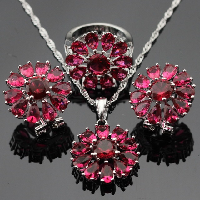 Made in China Silver Color Jewelry Sets Snowflake Red Created Ruby Earrings/Pendant/Necklace/Rings For Women Free Gift Box