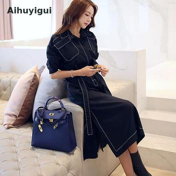 2019 Summer And Autumn Korean Style Half Sleeve Casual Temperament Dress Split Pockets Single Breasted Vintage Long Dress Dr402 rolled cuff pockets side split curved dress