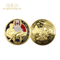 Wishonor Free Shipping 1944 Gold Plated Coin D-DAY Infantry Division JUNO Beach Challenge Coin For 2017 Gifts