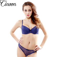 Undiz-VS Thong Bra Set Push Up French Embroidered Lace Women's Underwear Sets ABCD Cup Bra And Panty Deep V Intimates