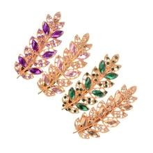Leaf Crystal Rhinestone Barrette Hairpin