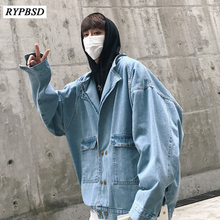 2019 New Oversized Denim Jacket Men Coat Blue Mens Double Breasted Hip Hop Streetwear Korean