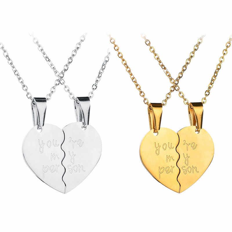 Вы мой человек две половинки сердце ожерелье кулон любовь пара ювелирные изделия для влюбленных девушек женщин Серебро Золото Цвет Черный Z4