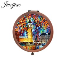 JWEIJIAO colorful city pocket mirror Famous paintings Printing picture makeup mirrors Mini Folding Round Mirrors PT52(China)