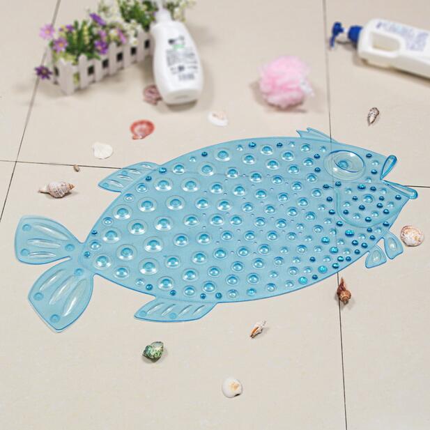Summer Fish Plastic Sucker Oval Pebble Bath Mats Foot Pad