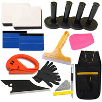 Car Wrap Vinyl Tools Kit Squeegee Scraper Razor Glove 4 Magnet Window Tint Pouch
