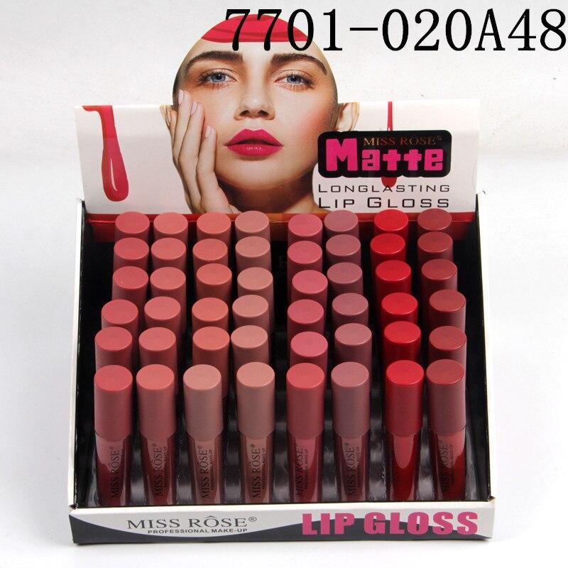 48 stks/partij Vloeibare Matte Lippenstift Waterdichte Sexy Rode Lip Kleur Lipgloss Moisturizer Fluwelen Matte Lipgloss Tint Make Up - 2