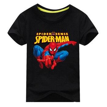 Children Short Sleeve T-shirt For Boy Tee Tops Clothes Girls Cartoon Spiderman Pattern T Shirt Kids 100%Cotton Top CostumeDX034 1