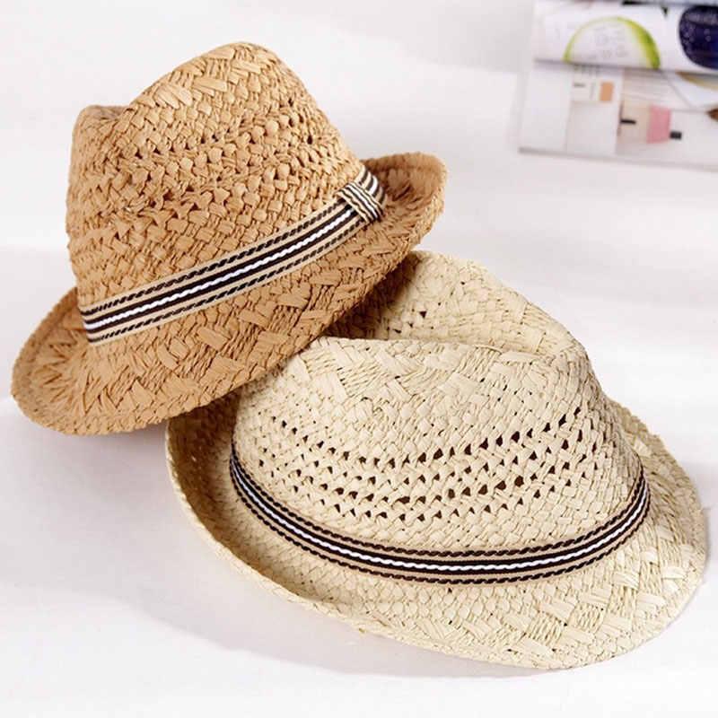 b4e0397f5ed89b Simple Fashion Children Baby Handmade Straw Hat Vintage Wide Brim Cap Summer  Beach Suncreen Boys Girls