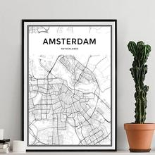 Amsterdam City Map Modern Canvas Painting Nordic Posters and Prints Wall Art Pictures For Living Room Home Decoration No Frame amsterdam city map