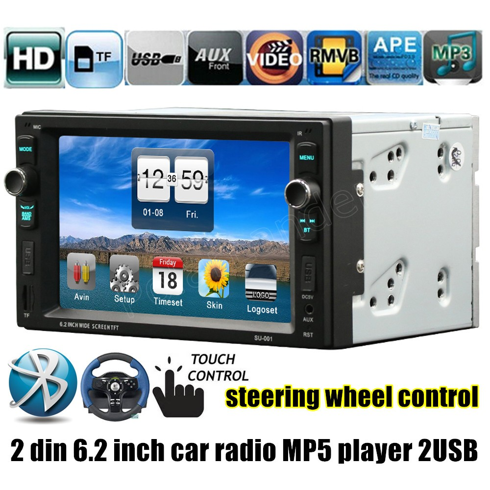 ФОТО Car Radio MP4 MP5 Player 2 DIN 6.2 inch MP5 MP4 player 2USB AUX In FM Audio Stereo steering wheel control