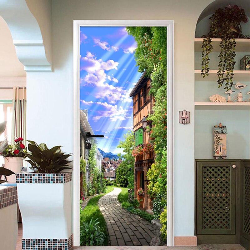 PVC Self-Adhesive Waterproof Door Sticker 3D Town Street Wallpaper Living Room Kitchen Wall Decals Vinyl Door Mural Home Design