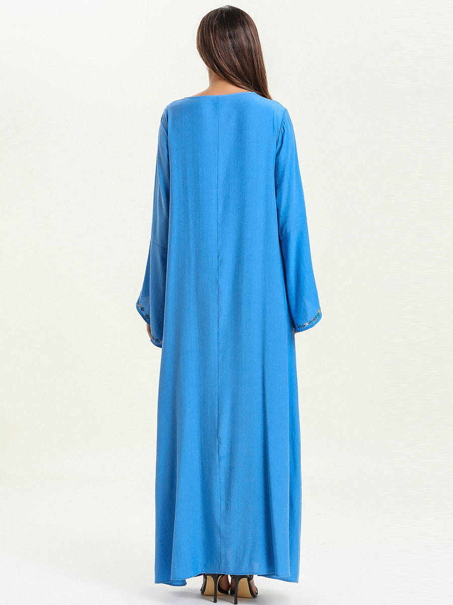 Для женщин Абая Moroccan турецкий вышивка синий мусульманское платье Дубай Бангладеш кафтан свободные исламская костюмы плюс размеры халат 4XL
