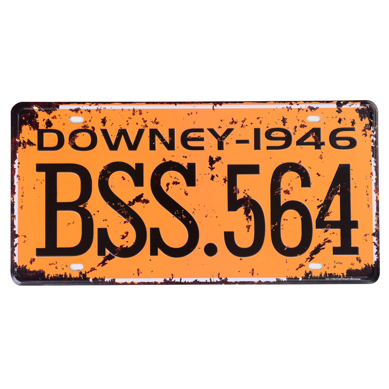 Retro license plate car number  DOWNEY-1946 BSS-564  vintage metal tin signs garage painting plaque Sticker