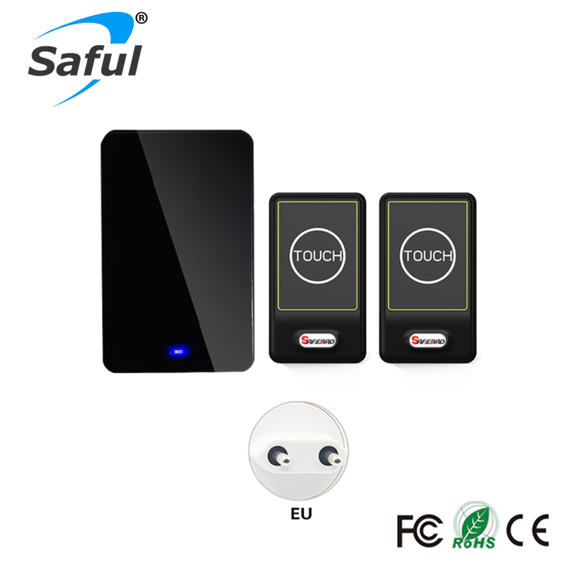 Saful Plug-in Wireless Door Bell Waterproof EU Plug Touch button 28 Chimes 2 Ourdoor Transmitter + 1 Indoor Receiver saful hot sale call bell 2 waterproof button 3 eu plug in receiver electrical bell 28 rings remote for smart door bell wireless