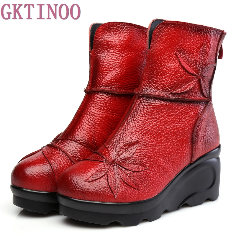 New Fashion Genuine Leather Women s Boots Winter Shoes Casual Women Wedges Shoes Handmade Woman Ankle