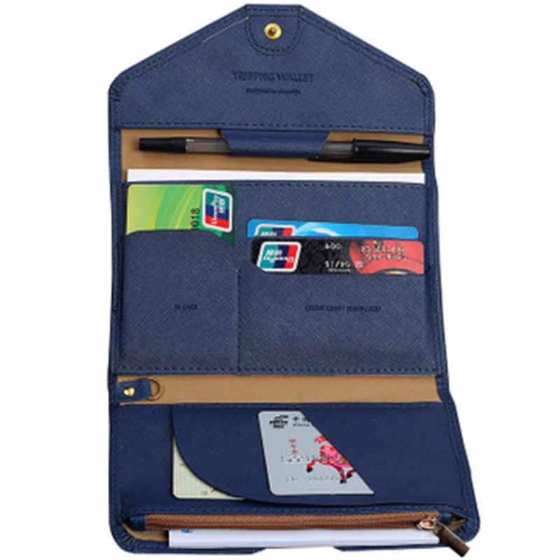 2019 nueva carpeta de documentos PU tri-fold multi-función viaje pasaporte paquete ID pasaporte personalizado paquete