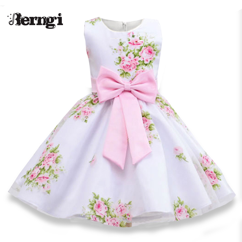 Berngi Girl Floral Dress 2018 New Brand Summer  Flower Girl Europen Style sleeveless Printed  cute bow Kids Clothes