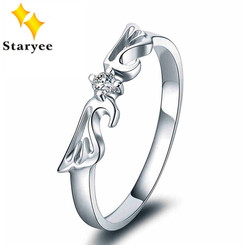 Angel Wings Pure 18K Solid White Gold Natural Diamond Engagement Ring Bands For Women Wedding D0.06CT VS H AU750 Free Engraving new pure au750 rose gold love ring lucky cute letter ring 1 13 1 23g hot sale