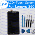 Para lenovo s60 lcd display + touch screen 100% novo digitador do painel de vidro para lenovo s60w 1280x720 hd telefone 5.0 ''shipp livre