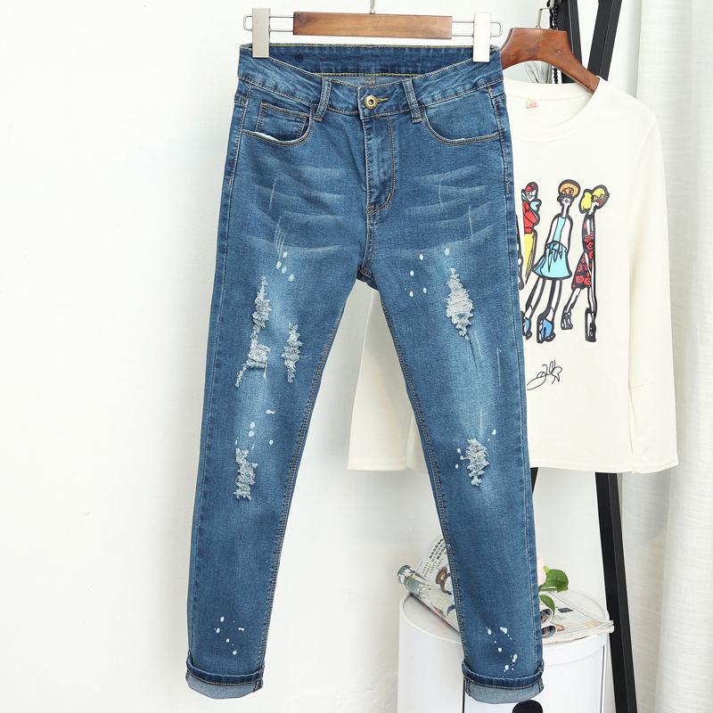 94b6eb1ef55 Cwlsp 2018 Для женщин Винтаж boyfriend отверстия Рваные джинсы середине  талии джинсовые брюки ...