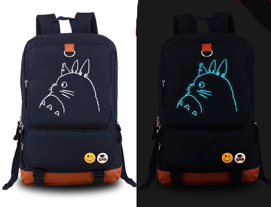 Hot Japan Anime Miyazaki Hayao Totoro cosplay Backpack Fashion Canvas Student Luminous Schoolbag Unisex Travel Bags japan anime tokyo ghoul cosplay shoulders bag backpack cartoon schoolbag mochila unisex casual travel bags