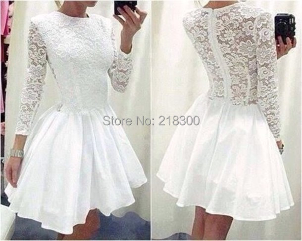 Modest White Lace Short Prom Dresses with Long sleeves Homecoming ...