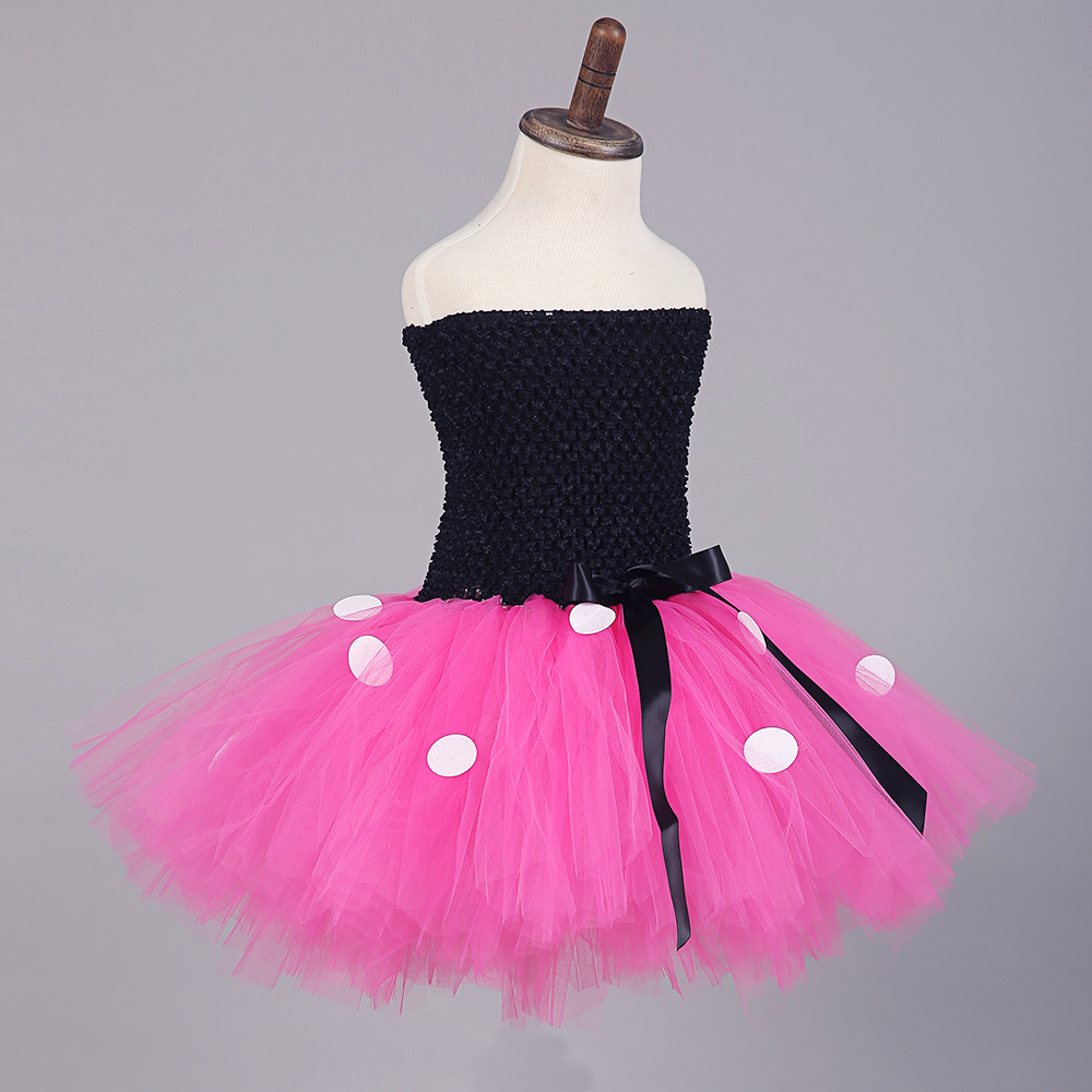 Black Top Rose Red Tulle Tutu Mini Mickey Dress with White Dots Knee Length Pettigirl Dress for Halloween Outfits Kids Clothes (5)