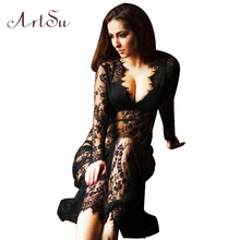 ArtSu Women Floor-Length Black White Summer Lace Dress Adjust Waist Sexy See Through Hollow Out Vestido Maxi Plus Size DR5046