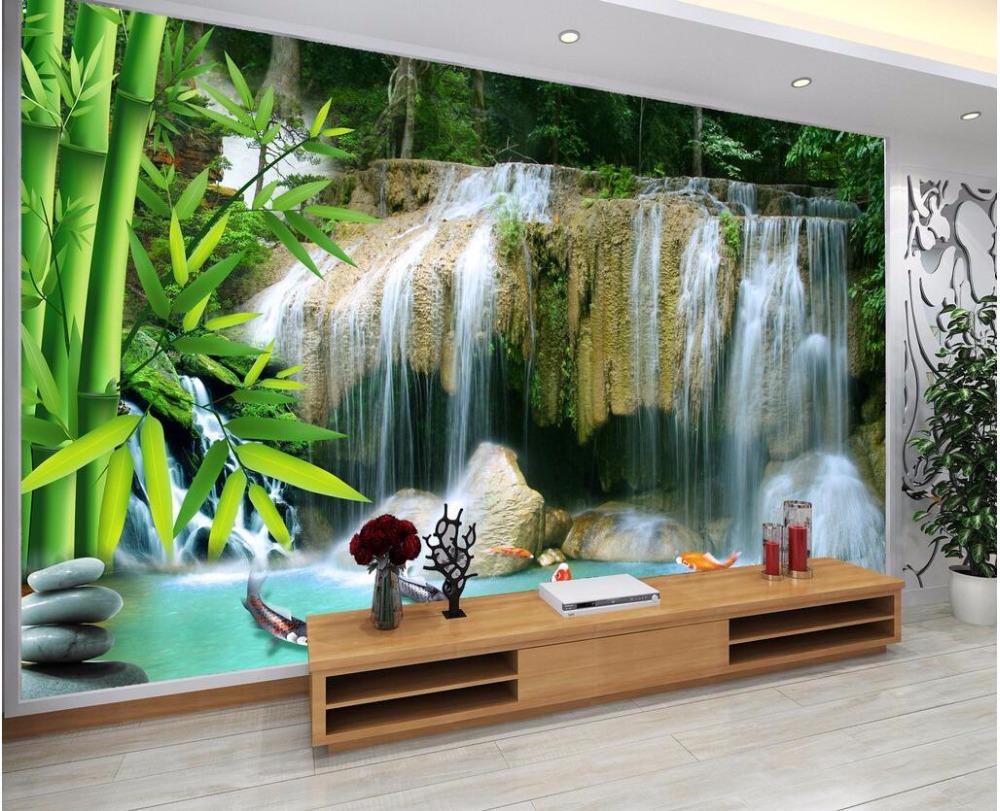 US $15 34 OFF Kustom Foto Mural 3d Wallpaper Air Terjun Bambu Landscape Dekorasi Kamar Lukisan 3d Dinding Mural Wallpaper Untuk Dinding 3 D Mural