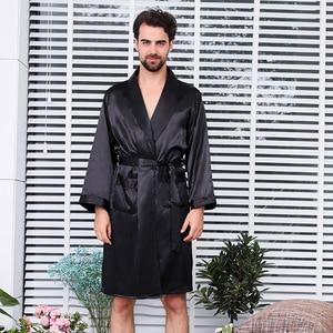 Image 2 - New Luxury Bathrobe Mens Print Plus Size Robe With Shorts 2 Pcs Silk Satin Pajamas Kimono Home Bath Gown Summer Male Nightgown
