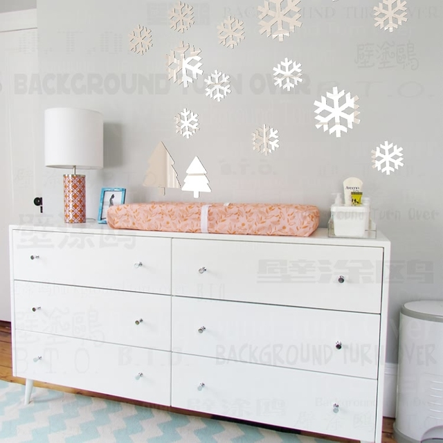 DIY Various Color Christmas Snowflake Wall Stickers For Christmas  Decoration Kids Wall Decals R216