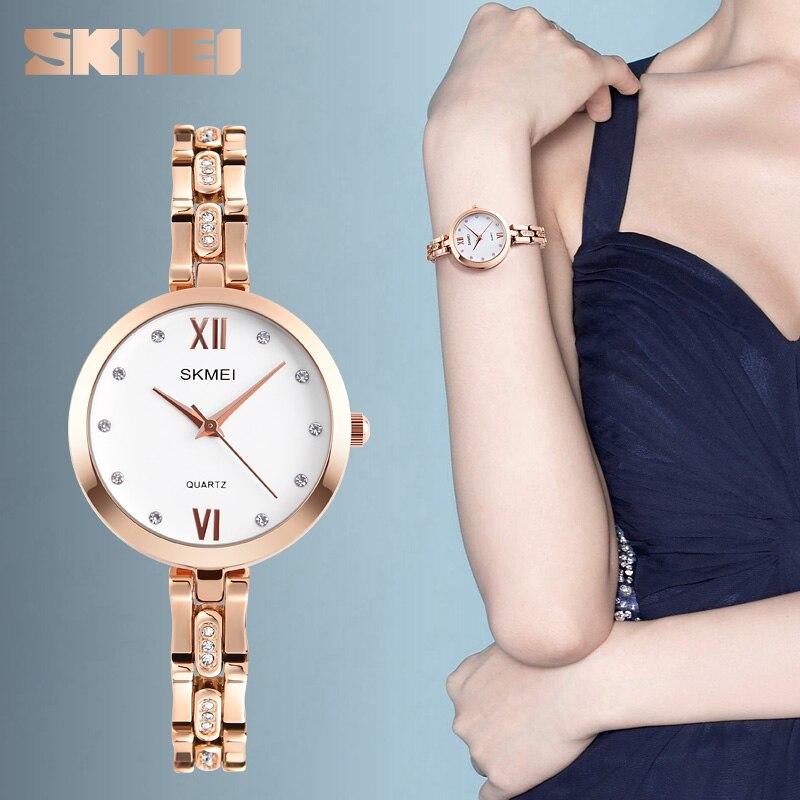 SKMEI Fashion Women Watches Mujer Relojes Luxury Rhinestone 30M Waterproof Quartz Watch Dress Wristwatches Relogio Feminino