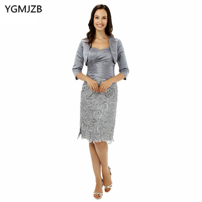 US $67.08 48% OFF|Plus Size Silver 2018 Mother Of The Bride Dresses Sheath  Sweetheart With Jacket Knee Length Short Mother Dress For Wedding-in Mother  ...