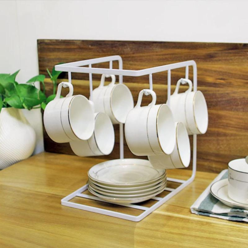 1 STÜCK Kreative Malerei Kaffeetasse Halter Haushalt Küche Eisen Tasse  Lagerung Regal Rack Tragbaren Geschirr Racks Halter Organizer3 In 1 STÜCK  Kreative ...