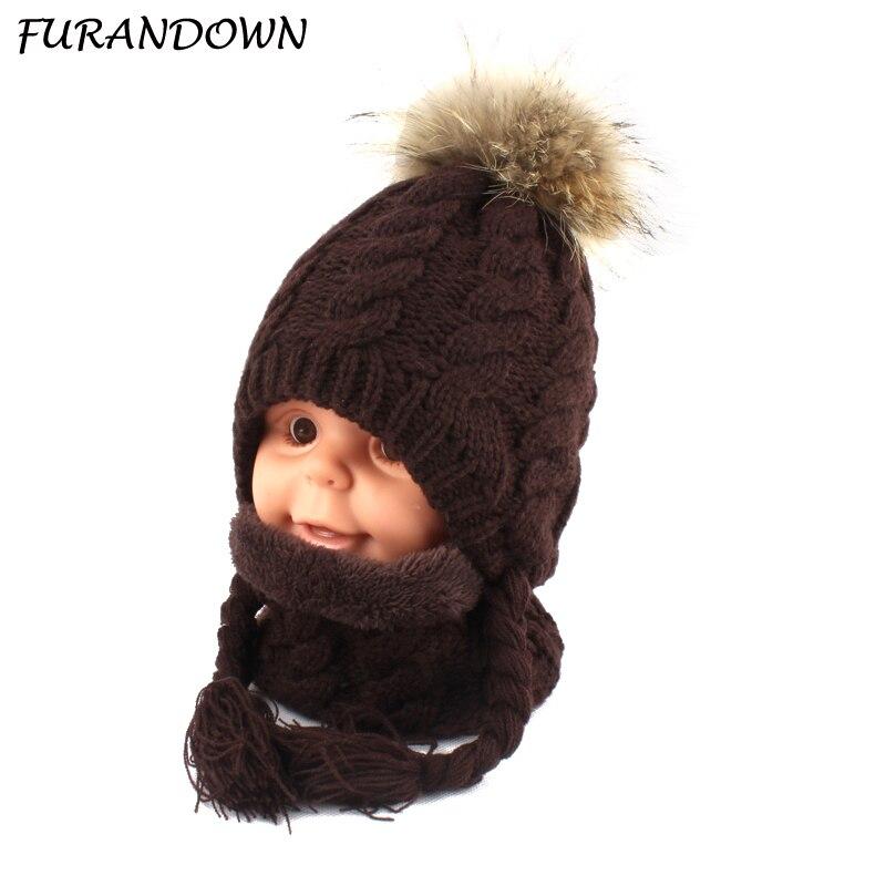 FURANDOWN Baby Winter Fur Pompom Hats Children Warm Scarf Beanie Set Ear Protection Cap Kids Boys