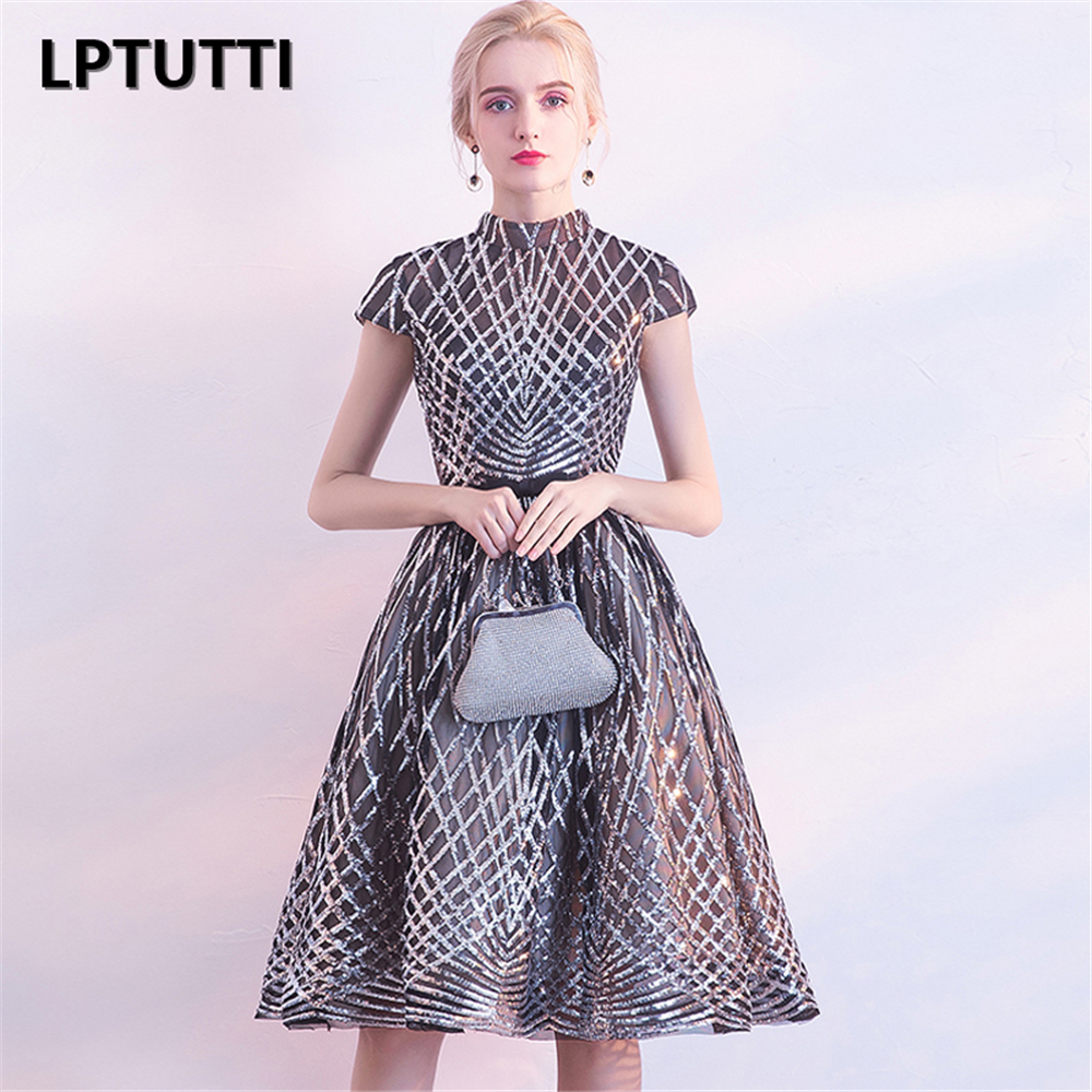 LPTUTTI Sequined Sequin New Woman Plus Size Social Festive Elegant Formal Prom Party Gowns Fancy Short Luxury   Cocktail     Dresse