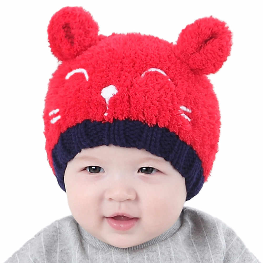 2019 ฤดูหนาวเด็กหมวกสำหรับชายหญิงเด็กหมวกเด็กทารกเด็กวัยหัดเดินเด็กสาวเด็กถักนุ่มน่ารักหมวก