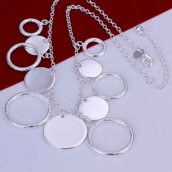 N015 Hot Sale Fine Silver Color Jewelry,Wholesale Factory Price 925 Charms Free Shipping Fashion Round Plate Necklace /aauai