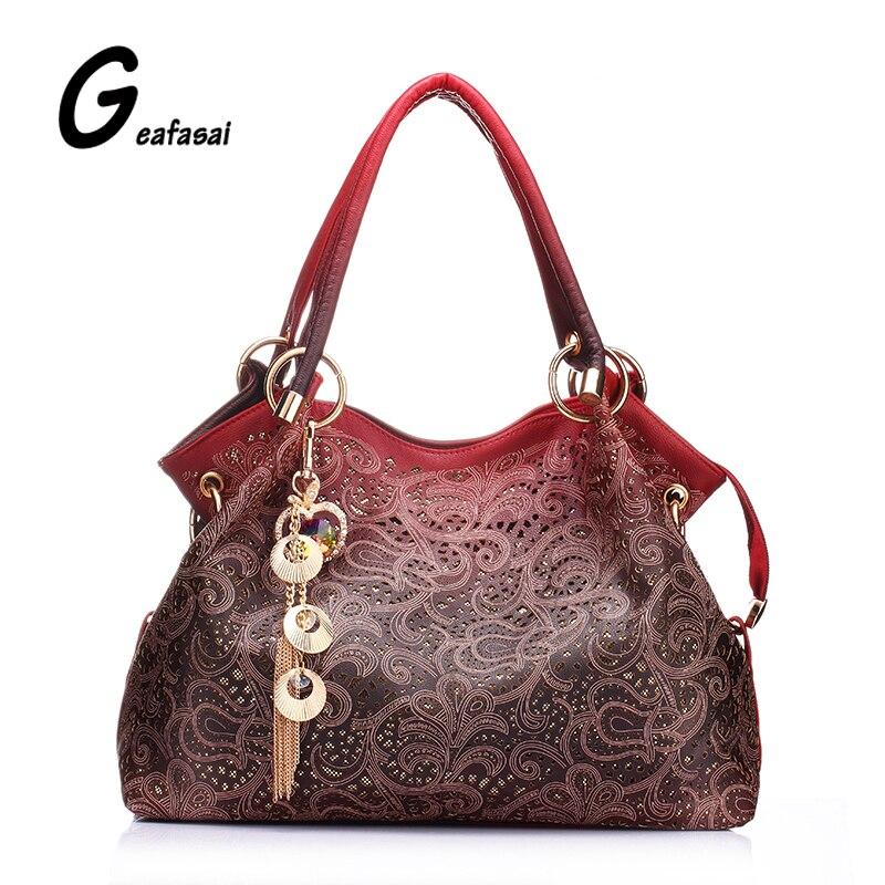 Brand designer good Quality flowers Hollow Out Shoulder hobos Bag tassel Elegant
