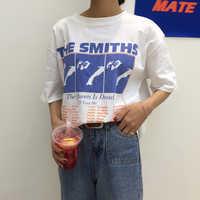 Vintage Lettera Stampata Causale Cotone Bianco Tutto il Fiammifero Allentato 2018 di Nuovo Modo di Base Manica Corta Donna T-Shirt