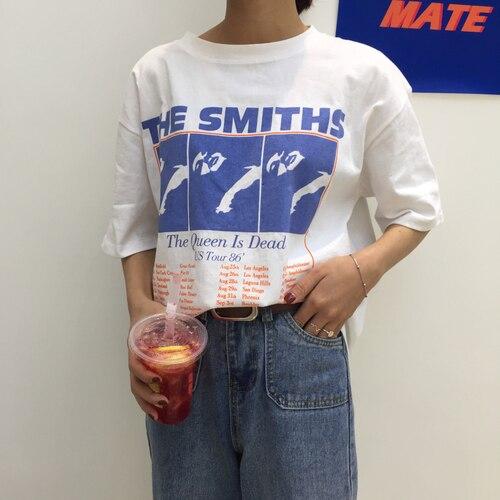 Vintage carta impreso casuales de algodón blanco todo encuentro suelta 2018 nueva moda básica de manga corta Mujer Camisetas