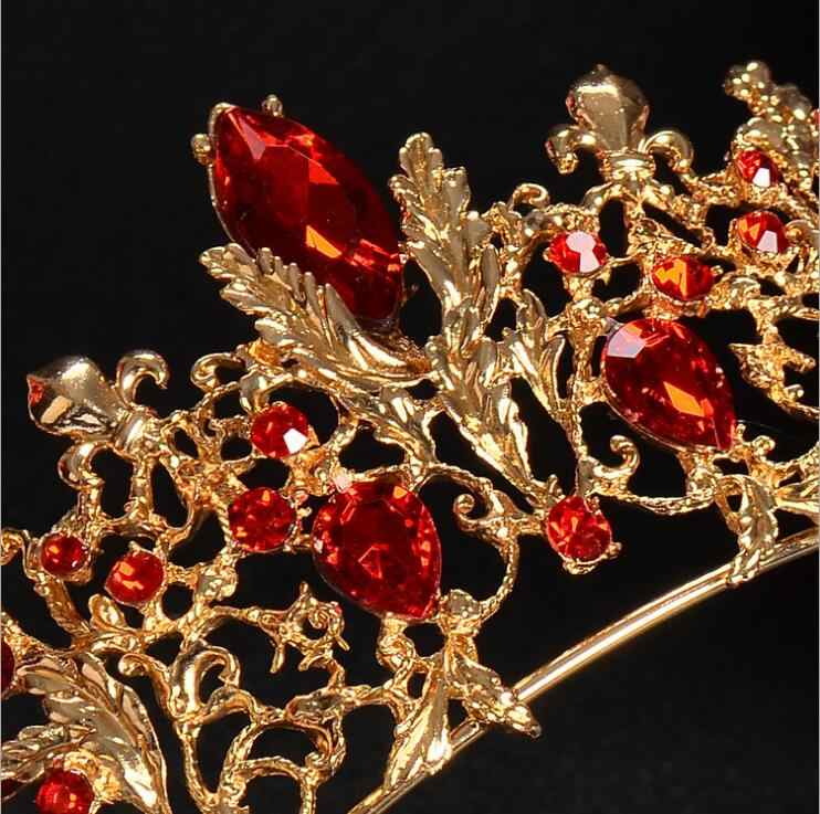 ... Baroque Gold Vintage Red Crystal Bridal Tiaras Wedding Hair Accessories  Silver Rhinestone Pageant Prom Crown for ... 8093041171be