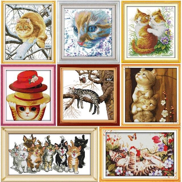 Joy Sunday разные виды кошек вышивка крестиком комплект DMC рукоделие вышивка крестиком Набор сделай сам ручная работа ткань 14CT и 11CT