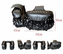 Free shipping Bag modified cruiser motorcycle side car side boxes side bags saddle bag kit bag with rivets tassel debris