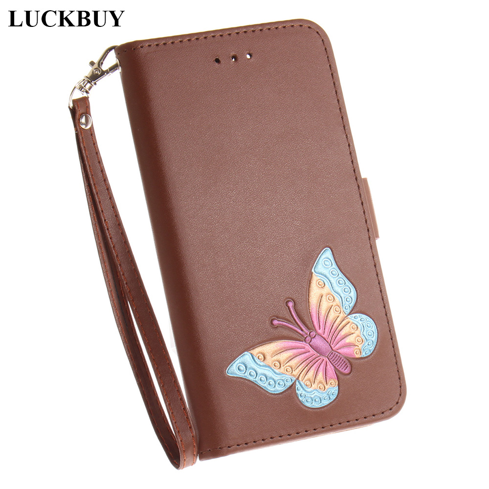 LUCKBUY Flip Case for Samsung Galaxy S7 edge S8 S8Plus Embossed 3D Relif Butterfly Cover With Card Slot Phone cases capa fundas