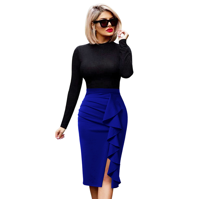 19f29a0f7ff Vfemage Womens Elegant Ruched Ruffle High Waist Slit Split Work Business  Cocktail Party Fitted Stretch Bodycon Pencil Skirt 1007